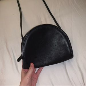 Black Vintage Coach Semi-Circle Purse w Long Strap